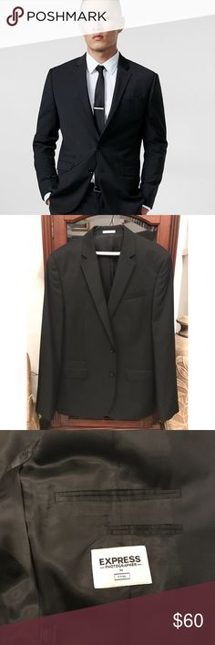 Slim Fit Photographer Black Wool Blend Suit Jacket Modern narrow lapels. Two button front. Three interior pockets. Express Suits & Blazers Suits