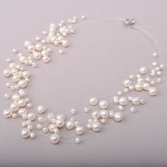 Cluster Fresh Water White Pearl Wedding Necklace ,Chunky Necklace