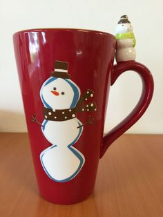 Target Holiday 08 Be Merry Ceramic Tall Snowman Latte Coffee Cup Mug 16oz