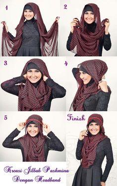 Tutorial Kreasi Jilbab Pashmina dengan Headband - Dorie Shop