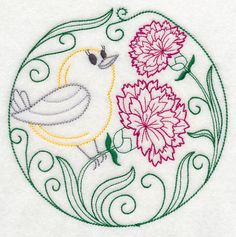 Prothonotary Warbler and Carnations (Vintage)