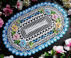 hand crochet doilies 16 3/4 x 10 3/4