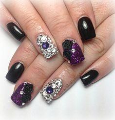 purple and black gel nails