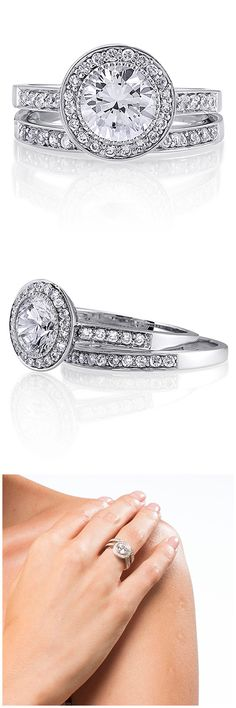 Sterling Silver Round CZ Halo Engagement Wedding Ring Set