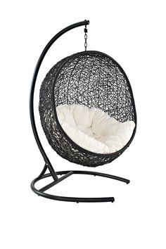 Encase Wicker Rattan Swing Chair - (Espresso/White)