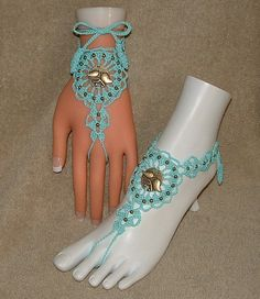 Crochet Barefoot Sandals Foot Jewelry Anklet by gilmoreproducts33, $14.00