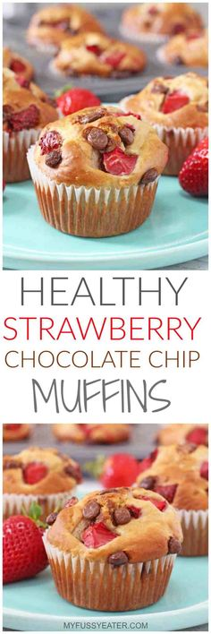 Healthy Strawberry & Chocolate Chip Blender Muffins hese Healthy Strawberry & Chocolate Chip Muffins are packed full of oats, banana, greek yogurt and honey and take just a couple of minutes to whip up in a blender or food processor. Easy Meals For Kids, Healthy Snacks For Kids, Healthy Baking, Healthy Treats, Healthy Desserts, Packed Lunch Ideas For Kids, Healthy Cupcake Recipes, Healthy Packed Lunches, Kid Snacks