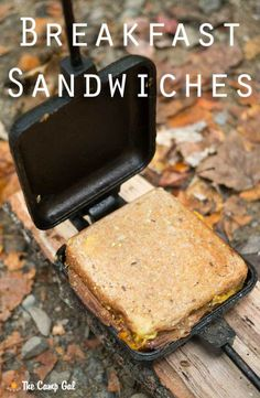 I love a hot breakfast after a chilly night sleeping in our tent. On our recent trip to the Smoky Mountains, we made pie iron breakfast sandwiches. These breakfast sandwiches a… Campfire Pies, Campfire Breakfast, Campfire Recipes, Campfire Snacks, Breakfast Pie, Breakfast Ideas, Breakfast Recipes, Tapenade, Hard Boiled