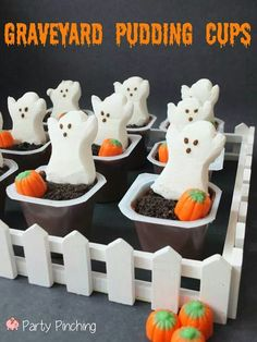 Halloween Snack: Graveyard Pudding Cups with Peeps Ghost marshmallows