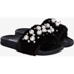 Ball's in Your Court Faux Fur Slide Sandal ($38) ❤ liked on Polyvore  featuring