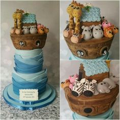 Noahs Ark christening cake                                                                                                                                                                                 More
