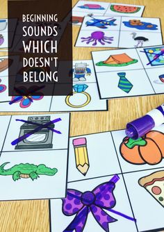 Which Doesn't Belong beginning sounds cards can be used both as a phonemic awareness or phonics activity depending on your students needs. Students identify the 4 pictures on the card and select the picture with a different beginning sound.