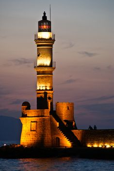 Chania Lighthouse at night, Crete, Greece   by GJB Photography
