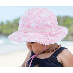 62748ca1785 Baby Girls Floppy Hat - Maya Pink Cotton hat with gorgeous floral material  with lace edging