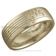 Yellow Gold Musical Phrase Wedding Ring - Personalize your wedding ring with a musical phrase symbolic of your relationship. 7mm wide.  - This custom wedding band has been etched with a music staff and notes. Made in 18K yellow gold.