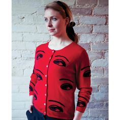 This fabulous scarlet red Cashmere Eye Cardigan is the epitome of cool with  a huge eye ae1c6c33e
