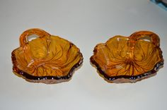 Set of Vintage Amber Glass Candy Dishes with One by JMLVintage