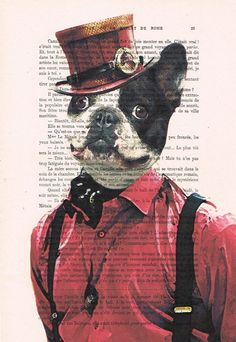 Hey, I found this really awesome Etsy listing at https://www.etsy.com/listing/196350159/cool-steampunk-bulldog-art-poster