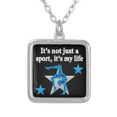 BRIGHT BLUE INSPIRATIONAL GYMNASTICS DESIGN SQUARE PENDANT Every Gymnast will…