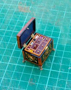 Artisan Chris Malcomson miniature marquetry sewing box | eBay