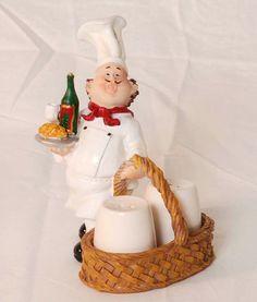 Bistro chef figurine salt & pepper shakers
