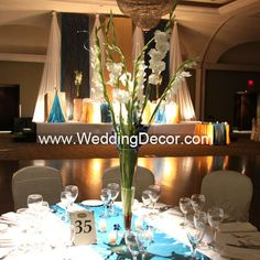 Wedding Centerpieces - white gladiolus & blue orchid by WeddingDecor, via Flickr