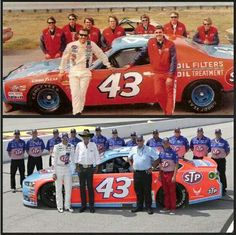 """"""" team in 1972 and today. 43 years later and cool is still cool. Dodge Muscle Cars, Custom Muscle Cars, Richard Petty, King Richard, Nascar Racers, Kyle Petty, Old Race Cars, Vintage Race Car, Mopar"""