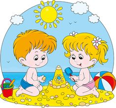 cute kids playing design vector