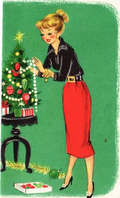Vintage Christmas Card (could photoshop Capri pants on her instead!)