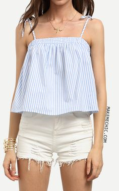Online shopping for Blue Striped Spaghetti Strap Cami Top from a great selection of women's fashion clothing & more at MakeMeChic. Chic Outfits, Summer Outfits, Fashion Outfits, Stitching Dresses, Iranian Women Fashion, Sweet Dress, Cami Tops, Girl Fashion, Creations