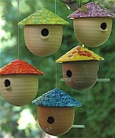 Attract birds with our fun gourd bird feeders! Weather-proof and chew-proof stoneware withstands the harshest elements. Handcrafted on a potters wheel, these unique feeders feature unusually vibrant c Ceramic Birds, Ceramic Pottery, Ceramic Bird Houses, Gourds Birdhouse, Unique Birdhouses, Birdhouse Ideas, Decorative Bird Houses, Bird Boxes, Gourd Art