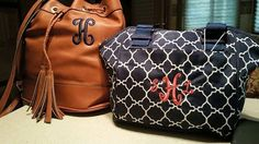 The 2015-2016 Signature Gold Bucket Bag in Saddle & the Take Out Tote in Navy Tile