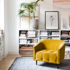 Velvet, mustard coloured luxurious armchair in mustard. Create a comfortable and stylish spot to perch, in line with Scandinavian design.