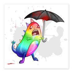 """""""Rainbow Dinosaur - by Denis Caron - 8x8 Print"""" I was commissioned to draw a rainbow dinosaur. All these rainbow commissions are making my eyes bleed... it's not rain he's protecting himself from, it's my eye blood. In Unconscious Ink Tags Dinosaur, Rainbow, blood, Bloodshot Eyes, Rain, Umbrella, Cute, Monster"""
