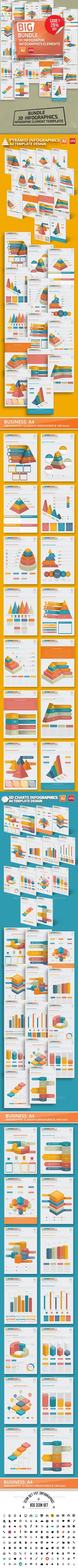 Bundle 3D Infographics Template Vector EPS, AI Illustrator