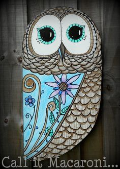 Whimsical Owl Whimsy Owl Doodle Owl Wooden by CallitMacaroni, $45.00