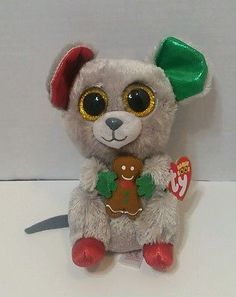 "Ty Beanie Boos - MAC the 6"" Christmas (Holiday) Mouse ~ 2016 NEW MWMT'S~ IN HAND"