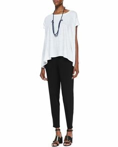 Organic Linen Jersey Swing Top, Slouchy Tapered Pants & 3-Strand Bindu Silk Beaded Necklace by Eileen Fisher at Neiman Marcus.