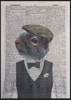 Squirrel Quote Vintage Dictionary Page Wall Art Picture Print Cute Love Animal