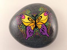 Butterfly and Dots Hand Painted on River Rock-Home Decor-Rock Art-Stone Art-Paper Weight-Unique Gift-Hand Made
