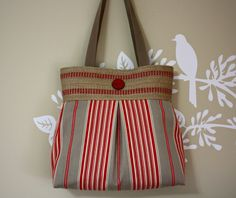 Red and Gray Stripes Handbag / Purse with Jute by SweetPeaTotes