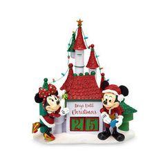 Disney Christmas Countdown Calendar - Santa Mickey and Minnie Woodland, Santa Mickey and Minnie Mouse Holiday Countdown Castle Animated Christmas Decorations, Hallmark Christmas Ornaments, Mickey Christmas, Christmas Town, Holiday Decorations, Disney World Theme Parks, Disney Parks, Minnie Mouse Doll, Christmas Countdown Calendar