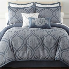 Royal Velvet Mona 8-pc. Comforter Set ($200) ❤ liked on Polyvore featuring home, bed & bath, bedding, comforters, 8 piece queen comforter set, queen comforter, king size comforters, navy blue queen comforter and navy blue comforter sets