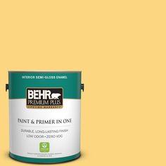 BEHR Premium Plus 1-gal. #350B-6 Wildflower Honey Zero VOC Semi-Gloss Enamel Interior Paint