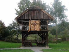 Traditonal hayrack (Kozolec) in Rogatec, Slovenia