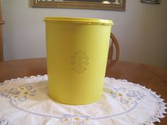 Vintage Tupperware large Lemon Yellow by NowandthenTreasures, $15.00 Tupperware Canisters, Vintage Tupperware, Lemon Yellow, Planter Pots, Unique Jewelry, Etsy, Costume Jewelry