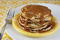 Banana Chocolate Chip Pancakes with Peanut Butter Syrup {Chunky Monkey Pancakes!} - Our Best Bites