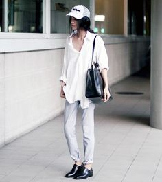 Zara Shopper With Braided Handles, Pierre Cardin Oversized Button Down Shirt, Mint Acid Wash Pants, Mark R. Leather Brogues