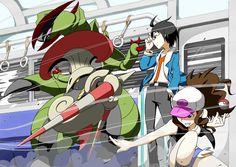 Pokémon - Cheren, Touko, 589 Escavalier and 612 Haxorus art by Yuuichi (ReductionBlack) (Sankaku Channel)