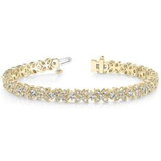 Allurez Diamond Floral Style Tennis Bracelet 18k Yellow Gold (4.16ct) ($9,355) ❤ liked on Polyvore featuring jewelry, bracelets, accessories, gold tennis bracelet, white jewelry, 18 karat gold jewelry, gold jewelry and yellow gold bangle